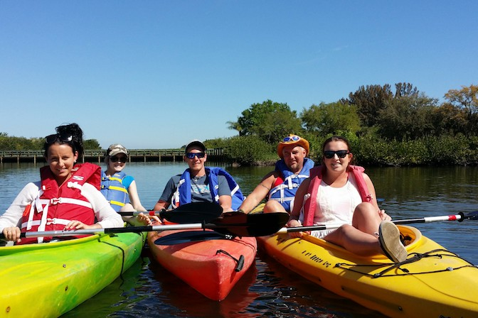 kayak with family in cocoa beach