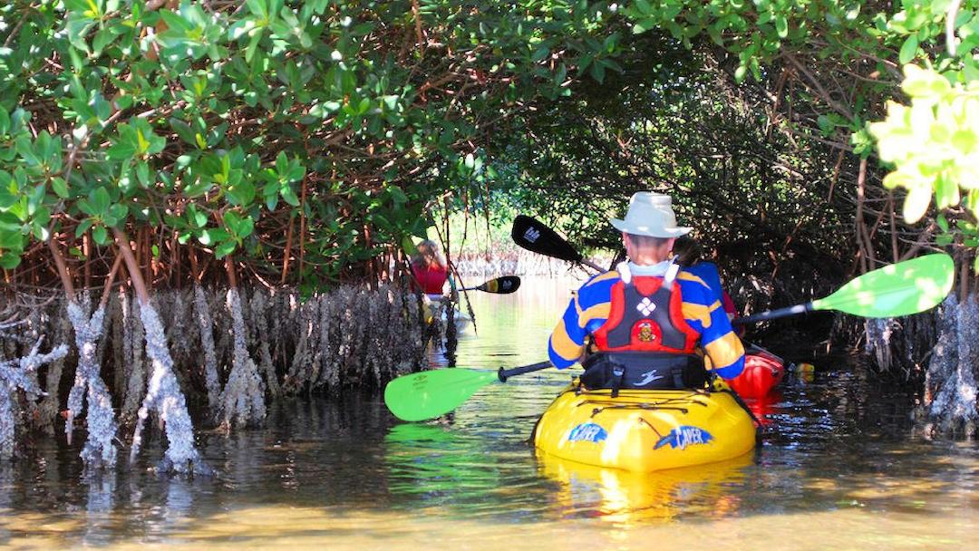 man kayaking in Banana River, Florida