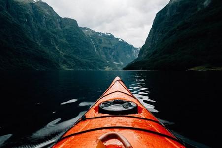 Kayaking on a neon canoe